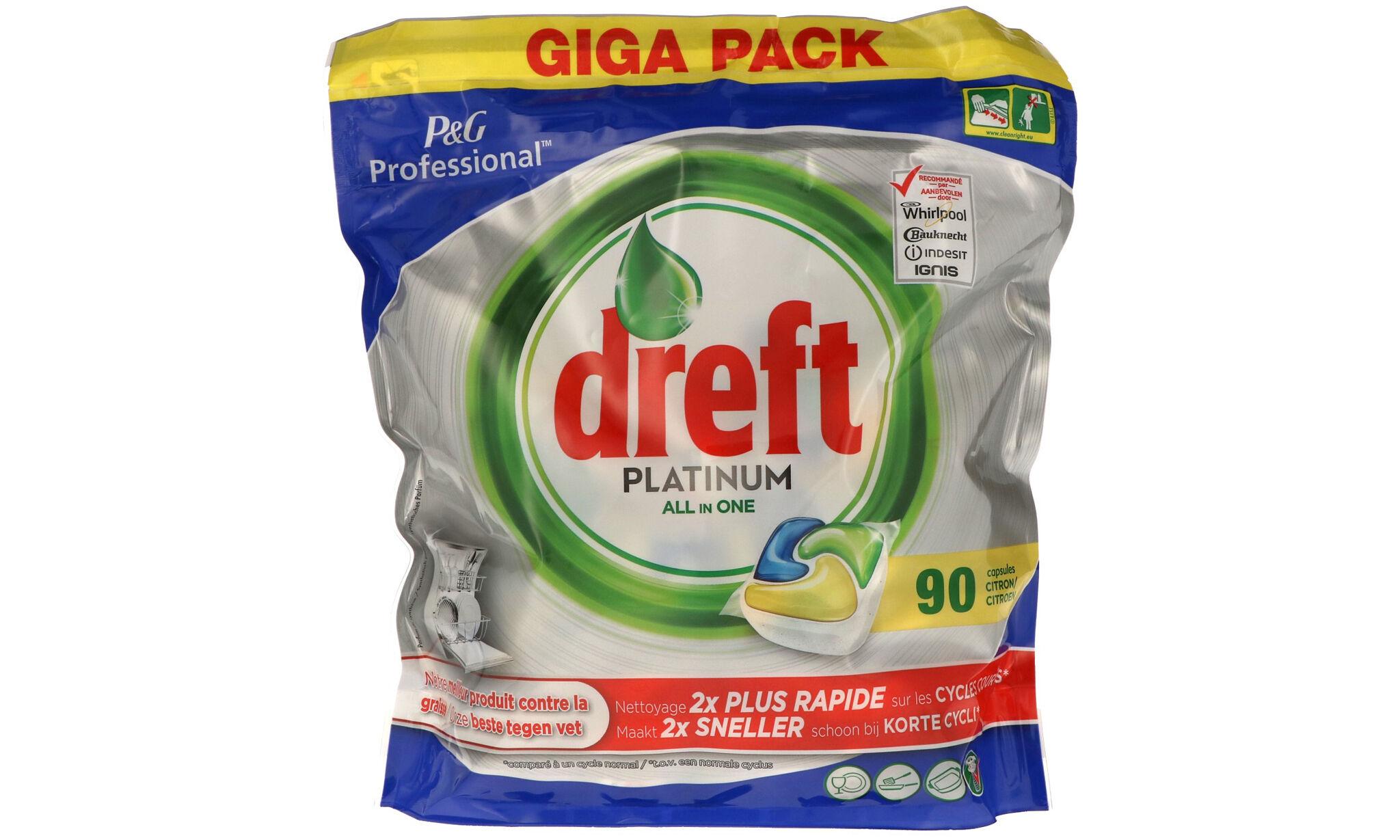 DREFT 3 paquets de 90 tablettes Platinum All in One Dreft : 270 tablettes /