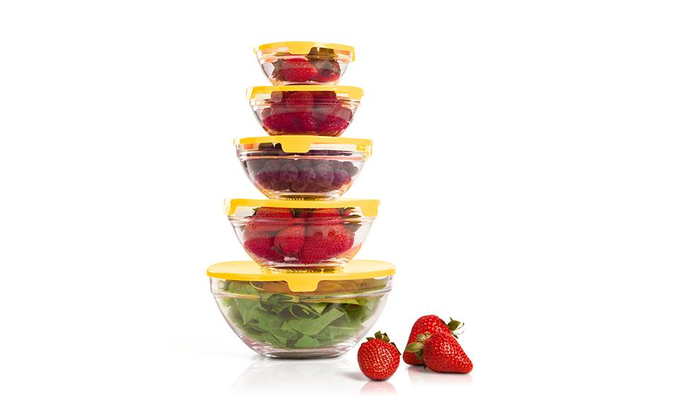 Groupon Goods Pack de 5 tupperwares en verre