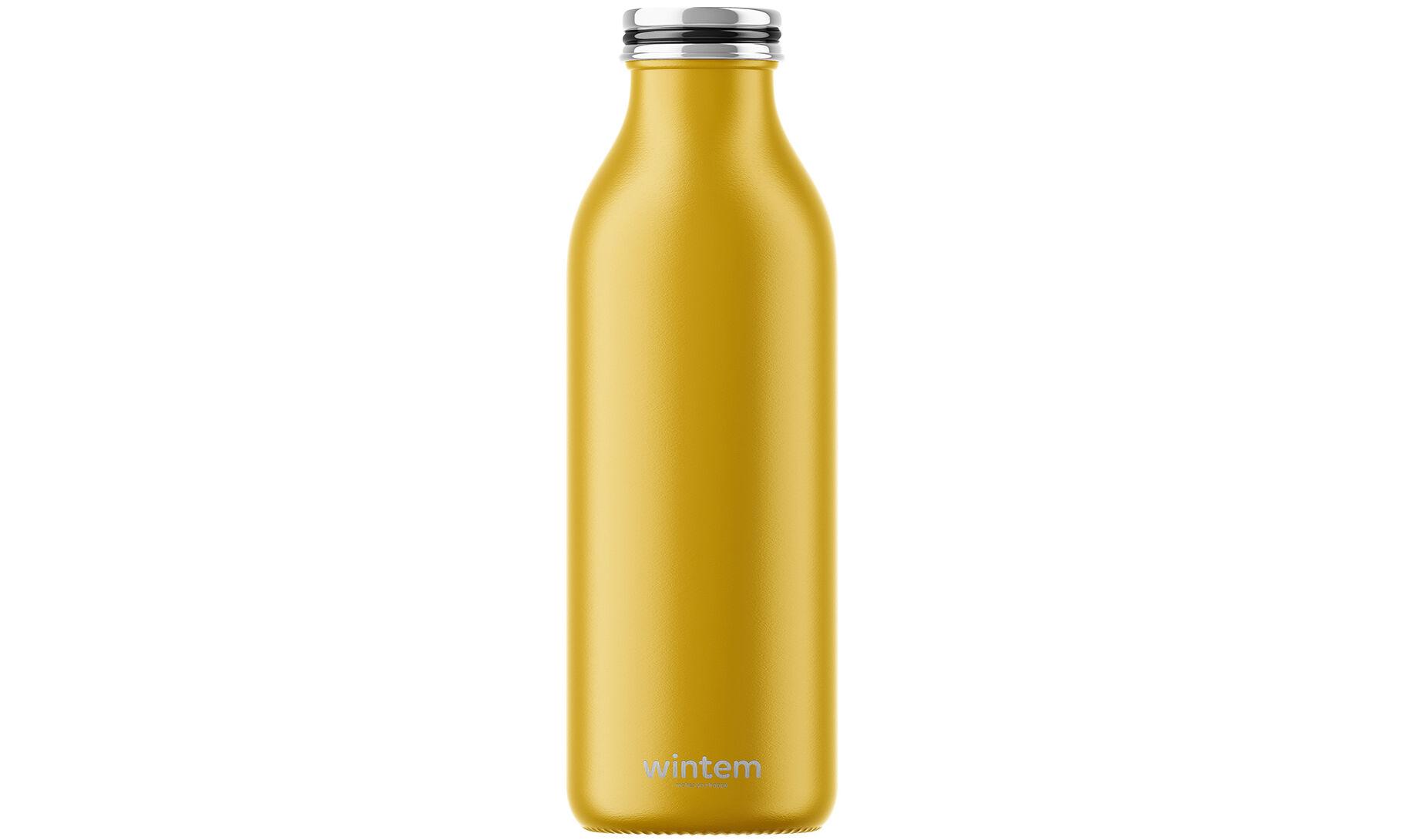 Wintem Bouteille isotherme de voyage en inox : jaune