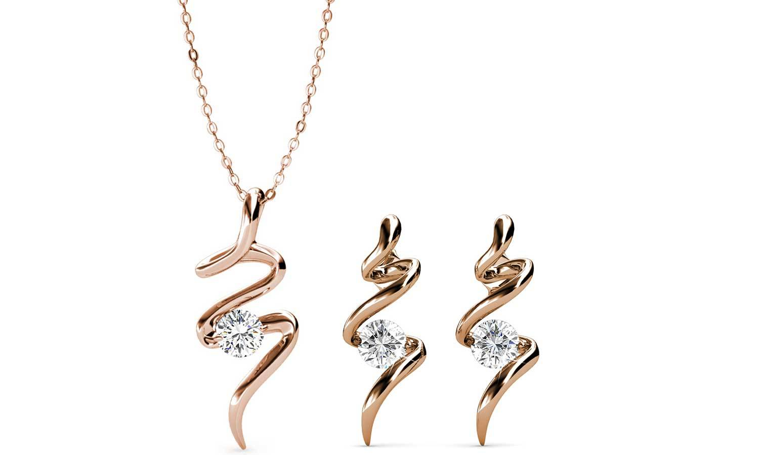 "Groupon Goods Bijoux ""Spirale"" : or rose / collier et boucles d'oreilles / 1 lot de 2"