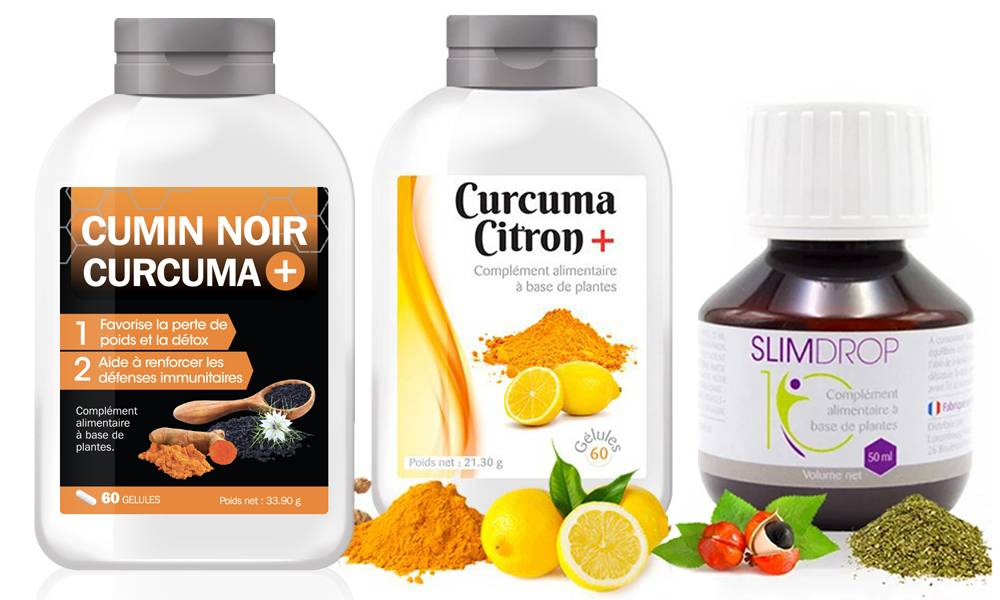 Groupon Goods La cure : Curcuma citron 360 gélules + Cumin noir 360 gélules + Slimdrop