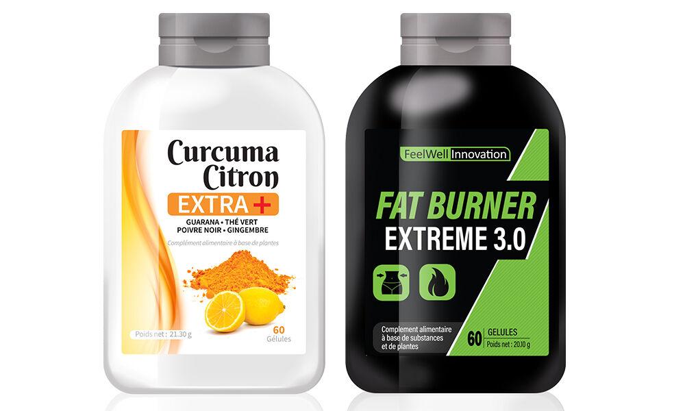 Groupon Goods Programme minceur Curcuma, Citron Extra+ et FATBURNER : 12 mois /1440