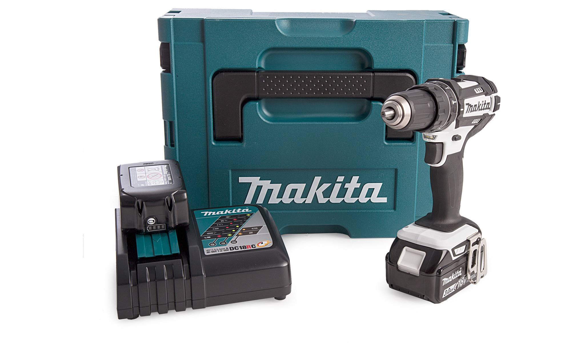 Makita Pack DHP482RFWJ Perceuse Makita +Coffret MakPac + 2 batteries 3 AH +1
