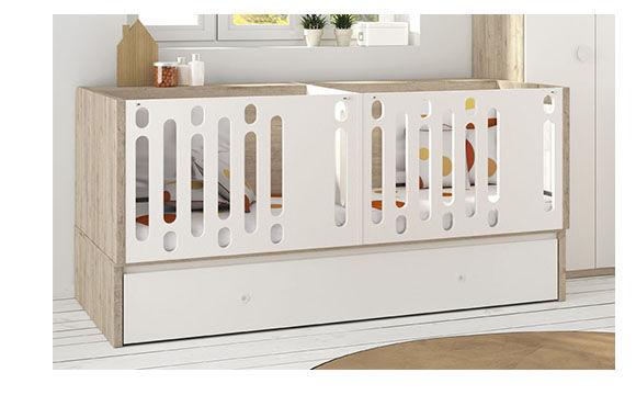 MEUBLES ROS Lit bébé convertible pour jumeaux avec couvercle pour le lit tiroir