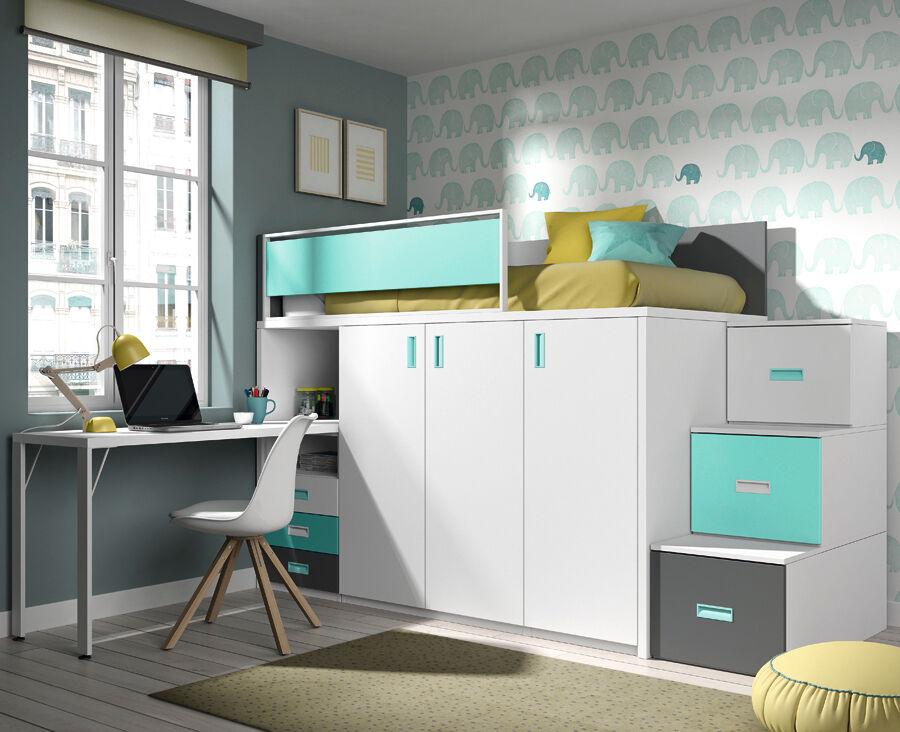 MEUBLES ROS Lit haut avec bureau, armoire et tiroirs