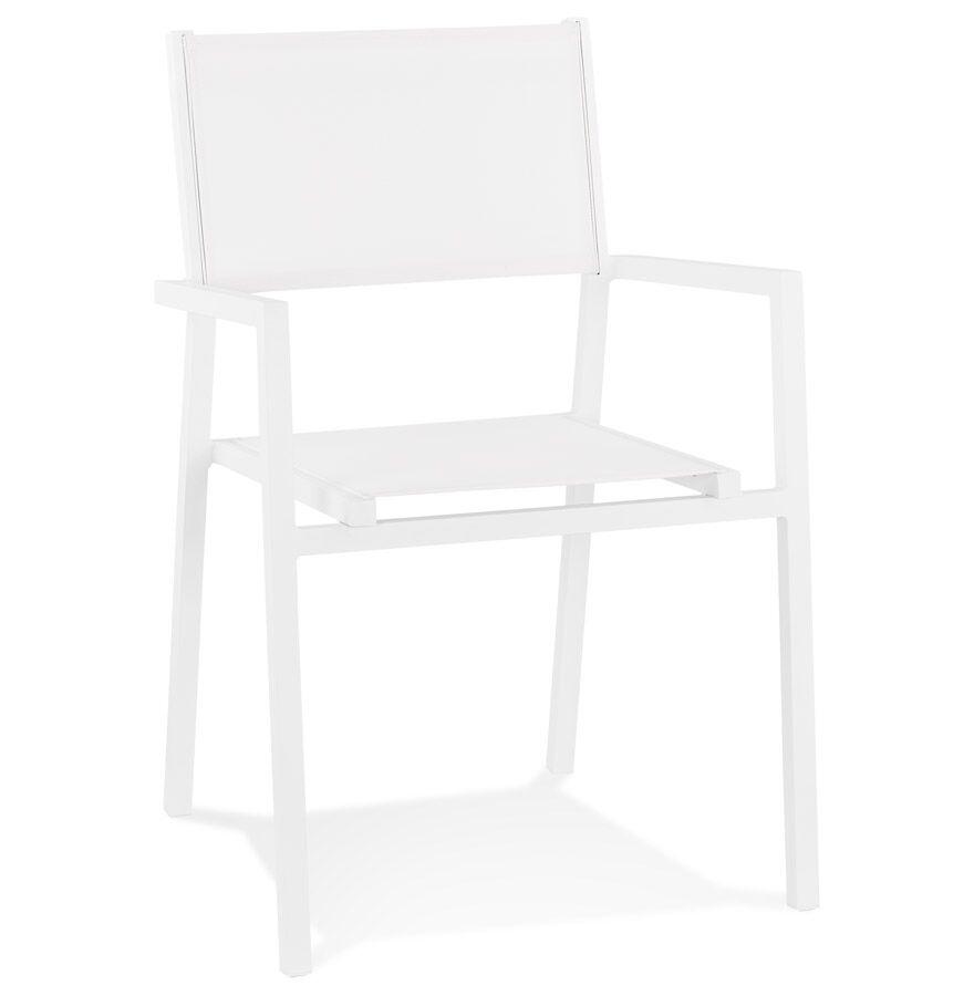 Alterego Chaise de jardin empilable 'KOS' en aluminium et matière synthétique blanche - commande par 2 pièces / prix pour 1 pièce