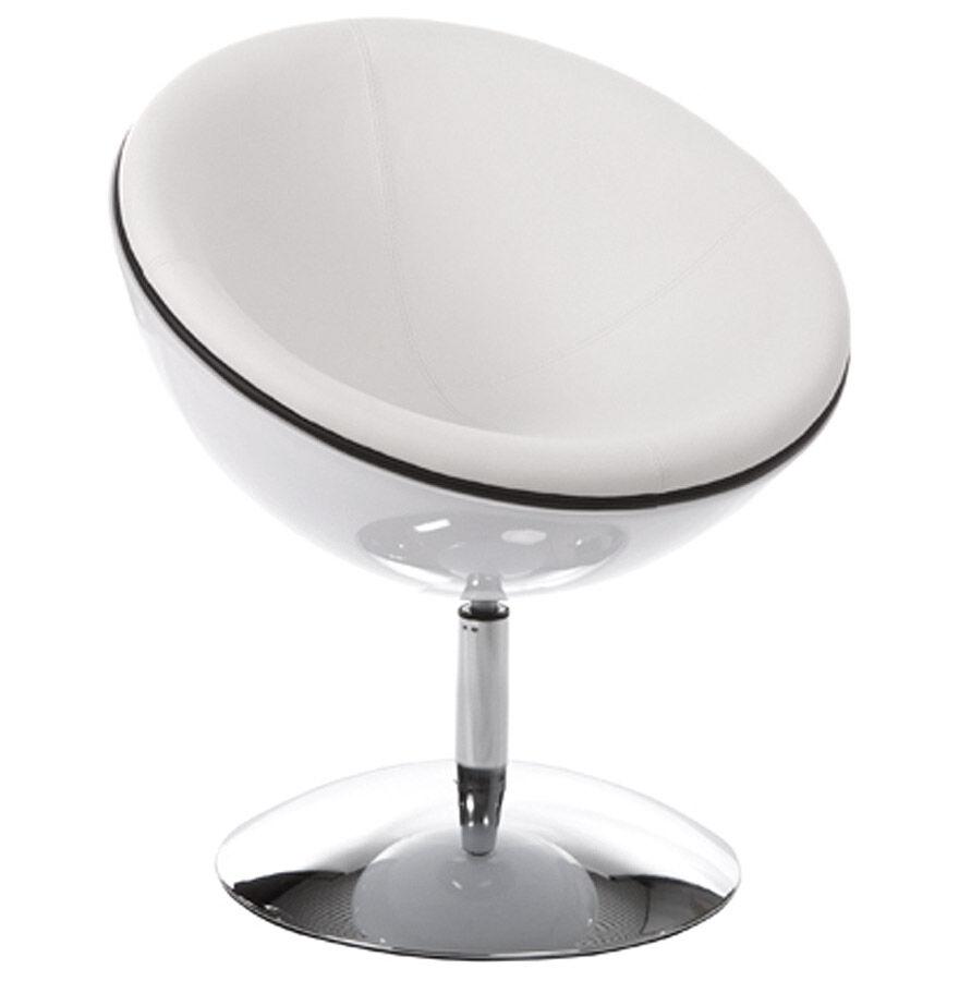 Alterego Fauteuil design boule 'SPHERA' pivotant 360° blanc
