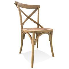 Alterego Chaise de cuisine rétro 'CHABLY' en bois finition naturelle - commande par 2 pièces / prix pour 1 pièce