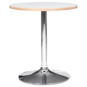 Alterego Table ronde 'CASTO ROUND' blanche et pied chromé - Ø 80 cm - Publicité
