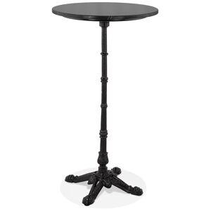 Alterego Table haute ronde 'DOMY ROUND' style rustique en pierre noire effet marbre - 60x60 cm - Publicité