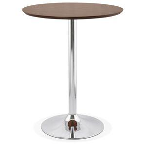 Alterego Mange-debout / table haute 'LIMA' en bois finition Noyer - Ø 90 cm - Publicité