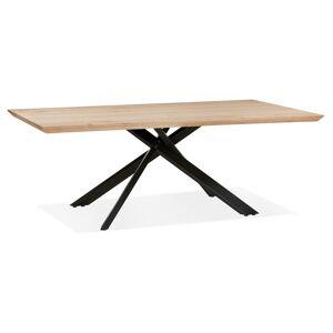 Alterego Table de salle à manger 'ROBINSON' en chêne massif avec pied en x en métal noir - 200x100 cm - Publicité