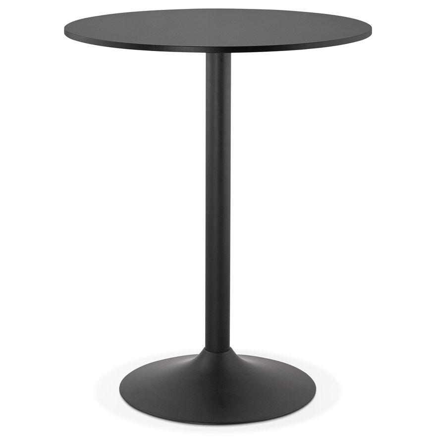 Alterego Mange-debout / table haute 'BRASILIA' noire - Ø 90 cm