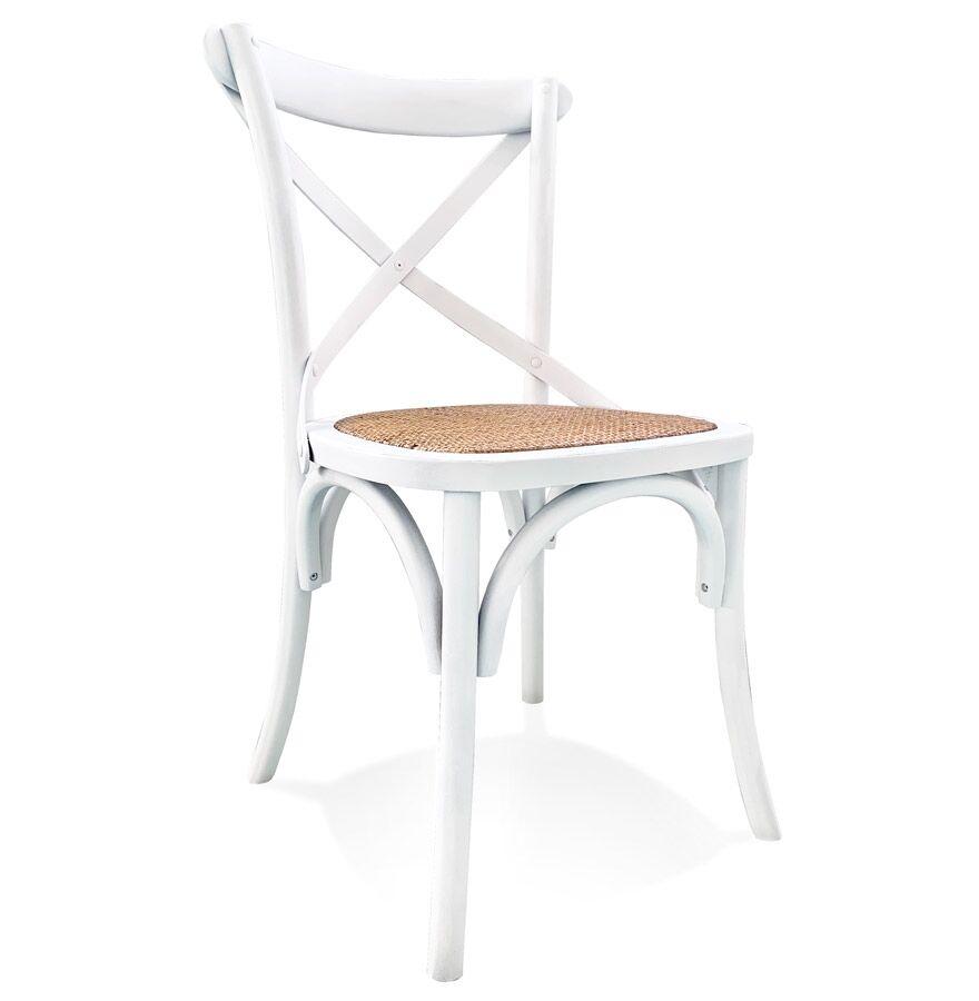 Alterego Chaise de cuisine rétro 'CHABLY' en bois blanc - commande par 2 pièces / prix pour 1 pièce