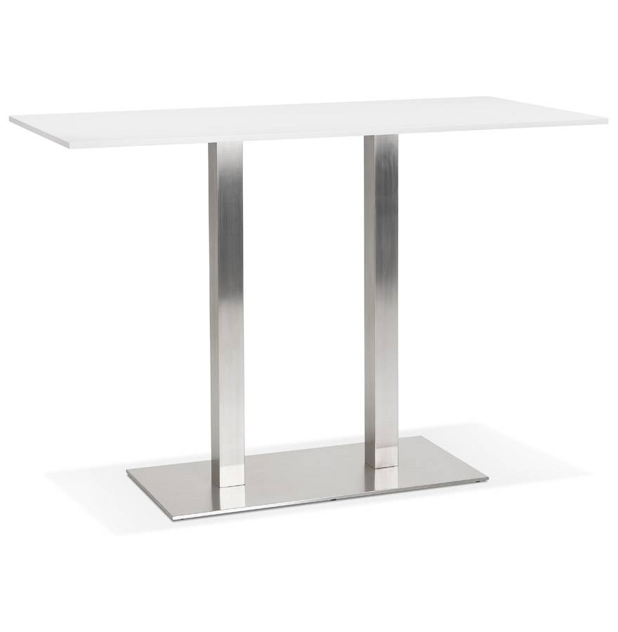 Alterego Mange-debout design 'DENVER BAR' blanc avec pied en métal brossé - 160x80 cm