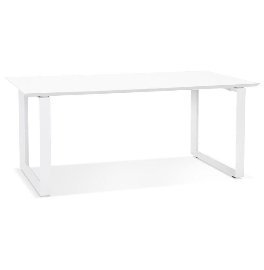 Alterego Grand bureau droit de direction 'GIMINI' en bois et métal blanc - 180x90 cm