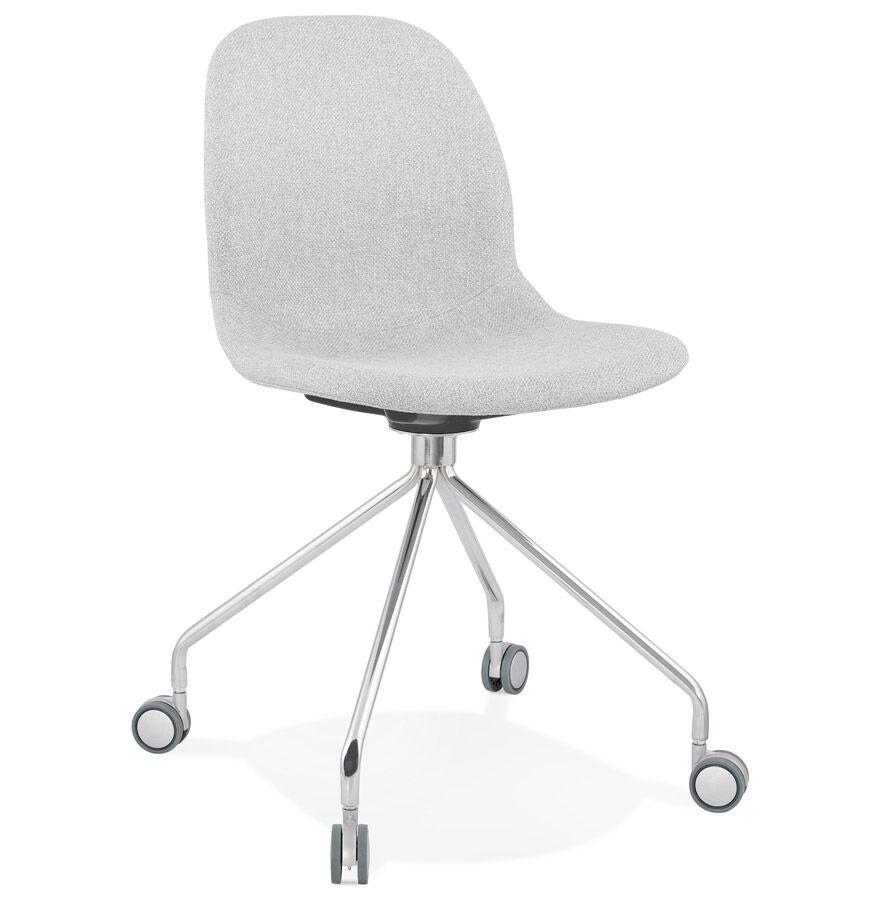 Alterego Chaise de bureau design 'GLIPS' en tissu gris clair sur roulettes
