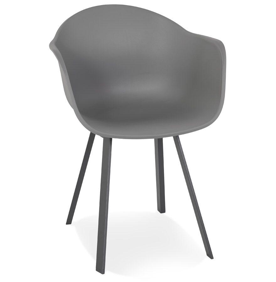 Alterego Chaise à accoudoirs design 'JAVEA' gris foncé intérieur / extérieur - commande par 2 pièces / prix pour 1 pièce