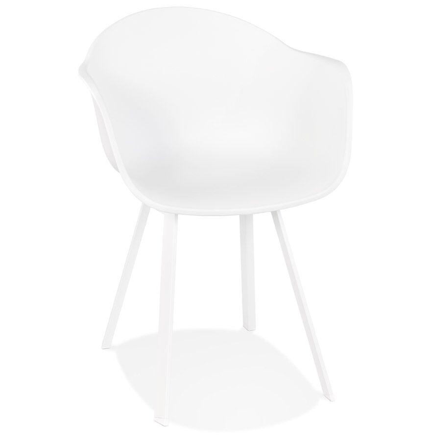 Alterego Chaise à accoudoirs design 'JAVEA' blanche intérieur / extérieur - commande par 2 pièces / prix pour 1 pièce