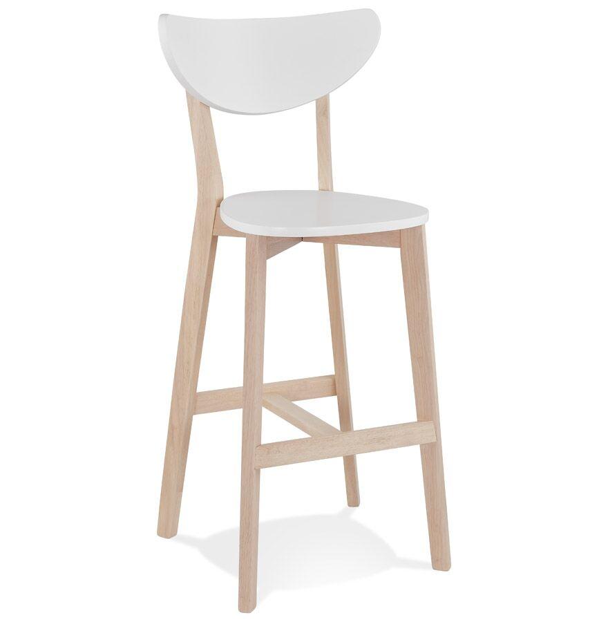 Alterego Tabouret de bar 'LEONARDO' blanc avec structure en bois finition naturelle - Commande par 2 pièces / Prix pour 1 pièce