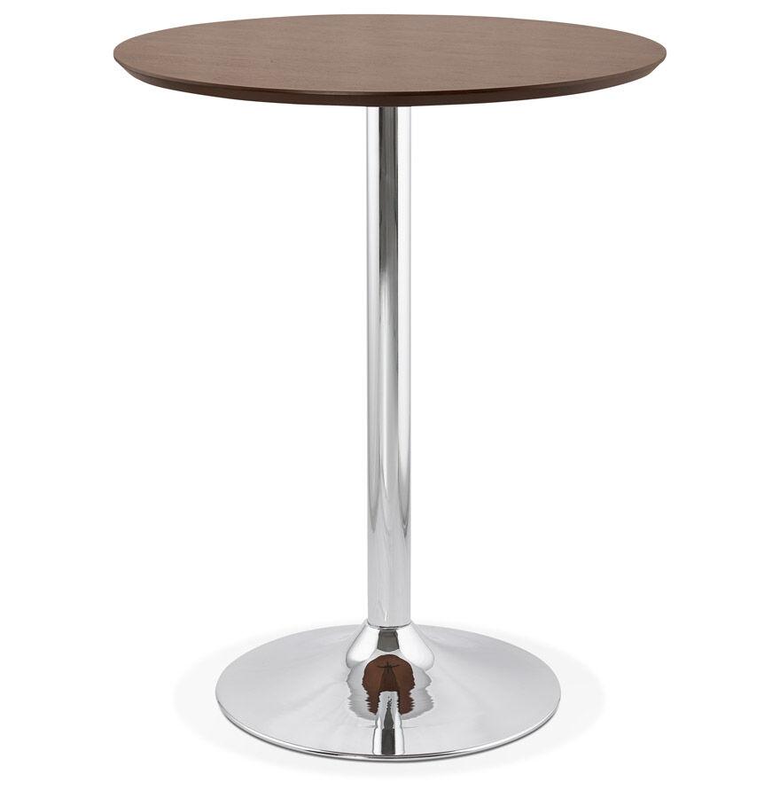Alterego Mange-debout / table haute 'LIMA' en bois finition Noyer - Ø 90 cm
