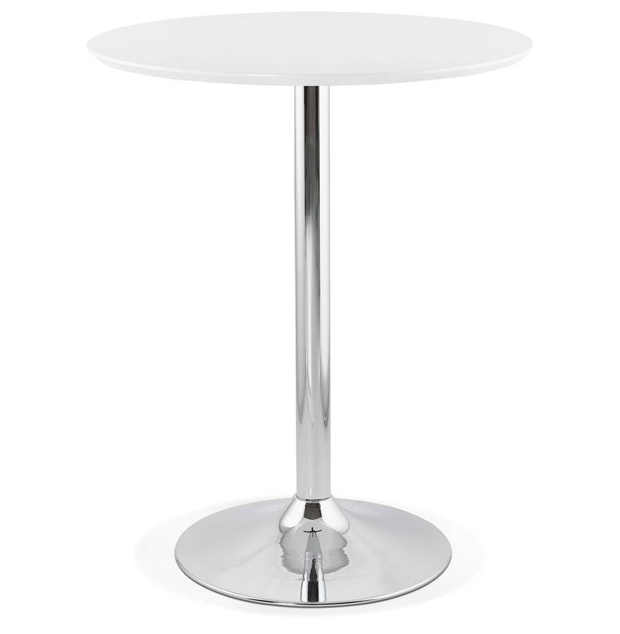 Alterego Mange-debout / table haute 'LIMA' blanche - Ø 90 cm