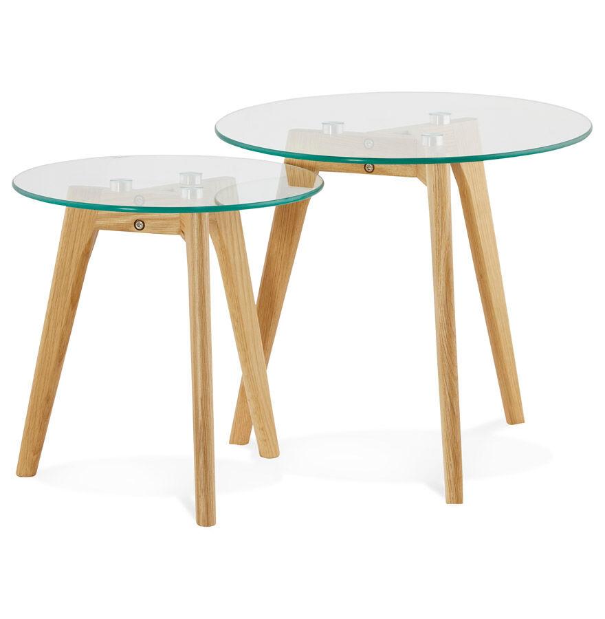 Alterego Tables gigognes ronde 'LOVYOU' en verre