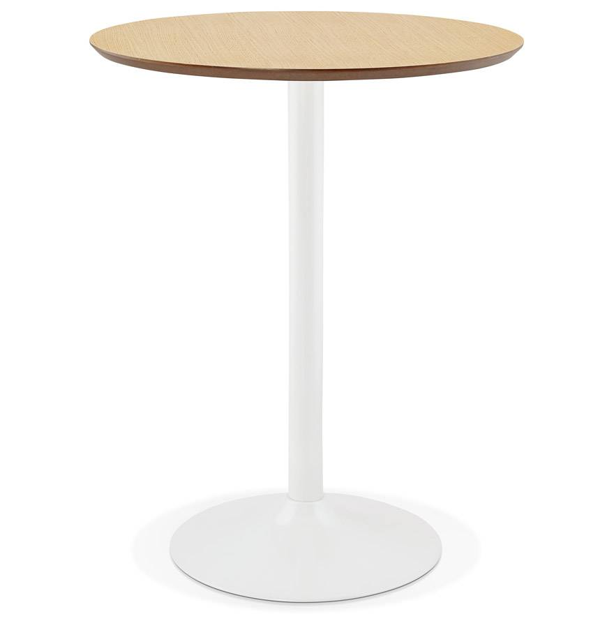 Alterego Mange-debout / table haute 'MADISON' en bois finition naturelle - Ø 90 cm