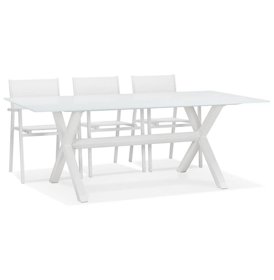 Alterego Table de jardin en verre 'MALAGA' blanche avec pied en X