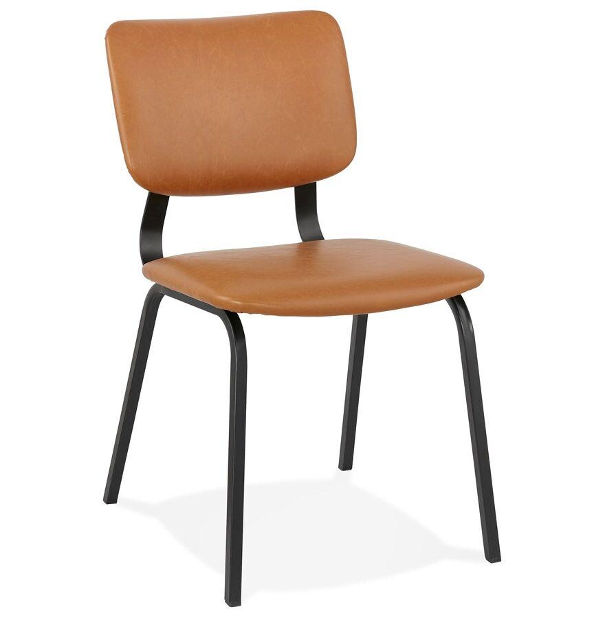 Alterego Chaise vintage 'MELODY' brune avec structure en métal noir