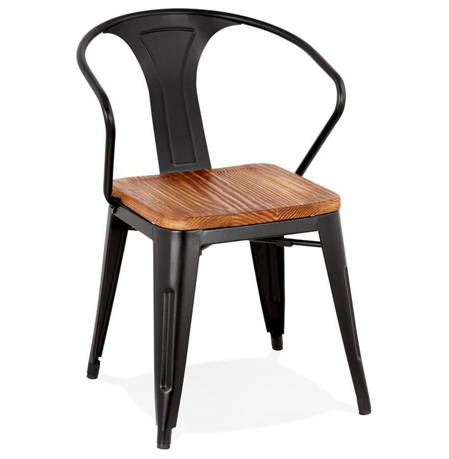 Alterego Chaise style industriel 'METROPOLIS' en métal noir - commande par 2 pièces / prix pour 1 pièce