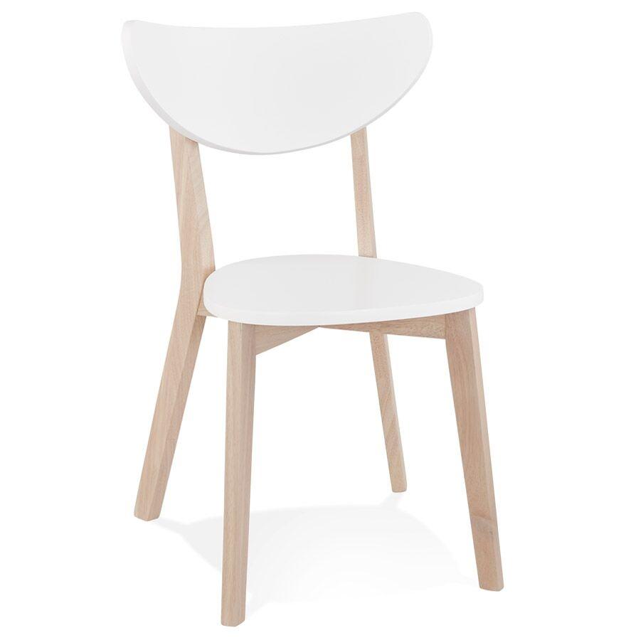 Alterego Chaise moderne 'MONA' blanche et structure en bois finition naturelle - Commande par 2 pièces / Prix pour 1 pièce