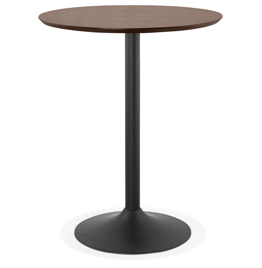 Alterego Mange-debout / table haute 'OSTERIA' en bois finition Noyer - Ø 90 cm