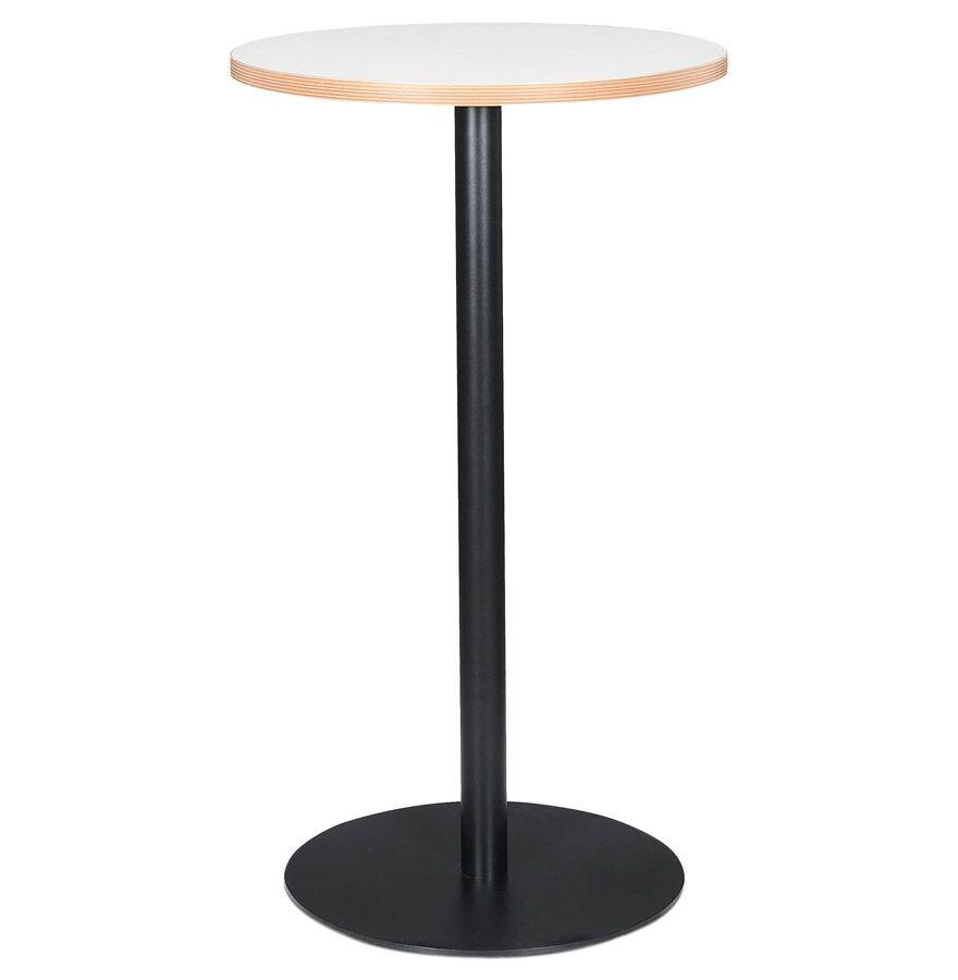Alterego Mange-debout rond 'POLLUX ROUND' blanc avec un pied noir - Ø 60 cm