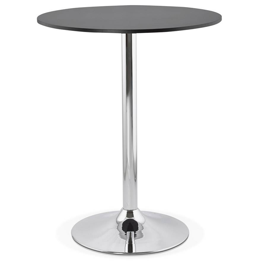 Alterego Mange-debout / table haute 'SANTIAGO' noire - Ø 90 cm