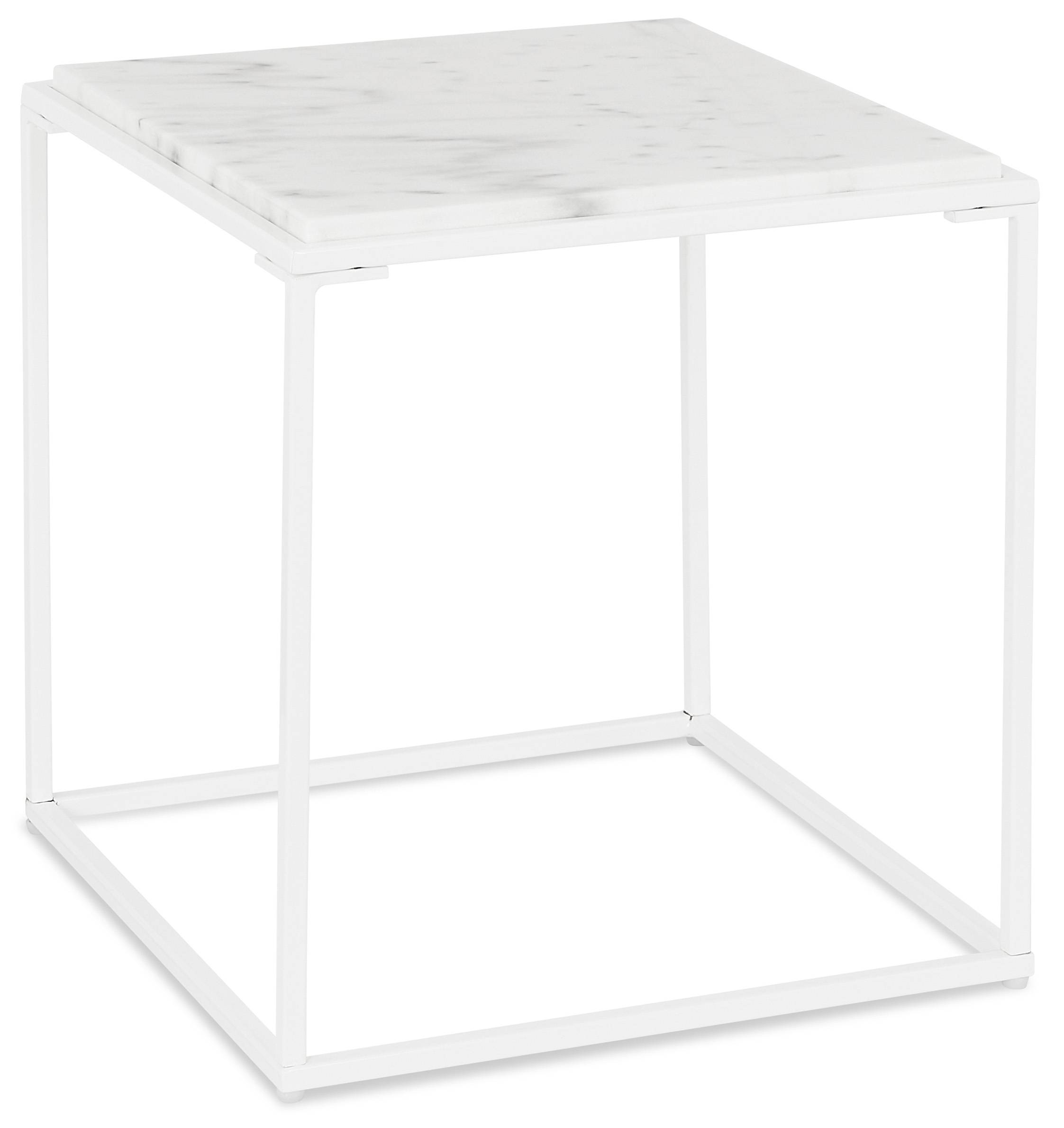 Alterego Table basse d'appoint 'SPIN MINI' blanche en pierre marbrée