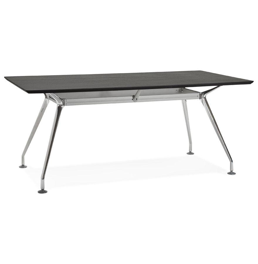 Alterego Grand bureau / table de réunion 'STATION' en bois peint noir - 180x90 cm