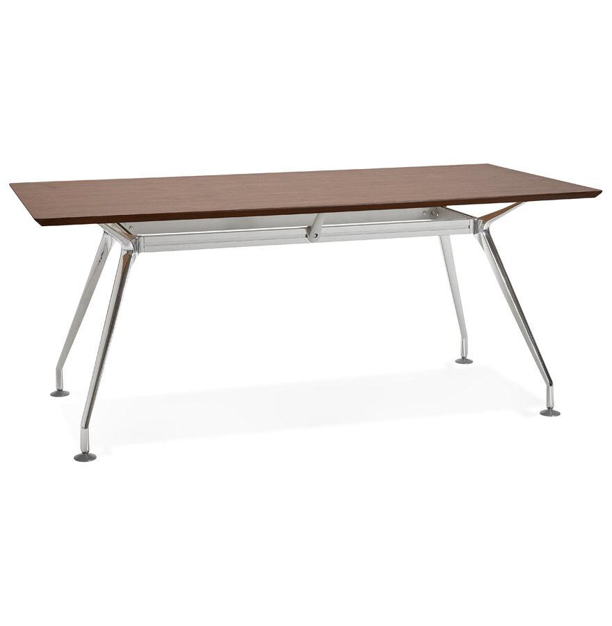 Alterego Grand bureau / table de réunion 'STATION' en bois finition Noyer - 180x90 cm