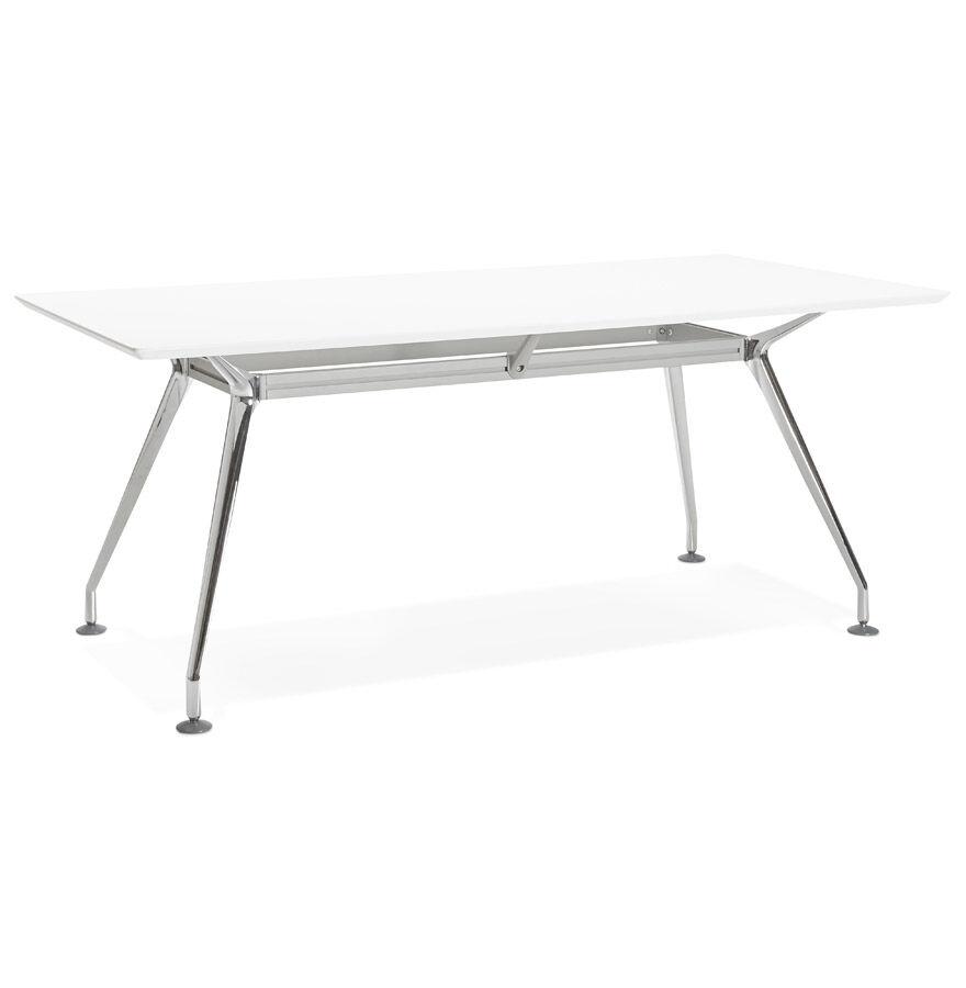 Alterego Grand bureau / table de réunion 'STATION' en bois peint blanc - 180x90 cm