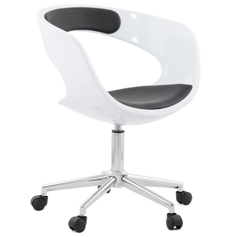 Alterego Chaise de bureau 'STRATO' blanche et noire sur roulettes
