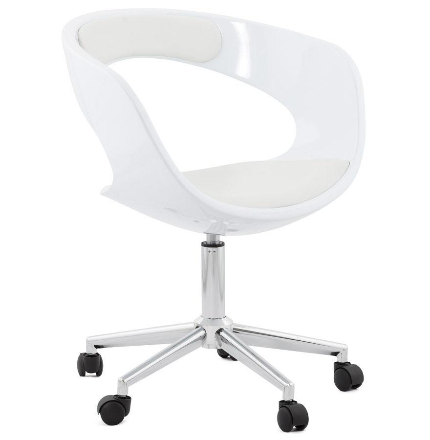 Alterego Chaise de bureau 'STRATO' blanche sur roulettes