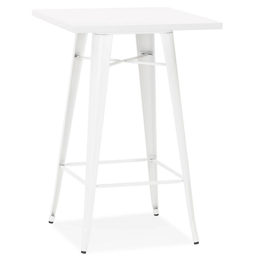 Alterego Table haute style industriel 'TATY' blanche - 70x70 cm