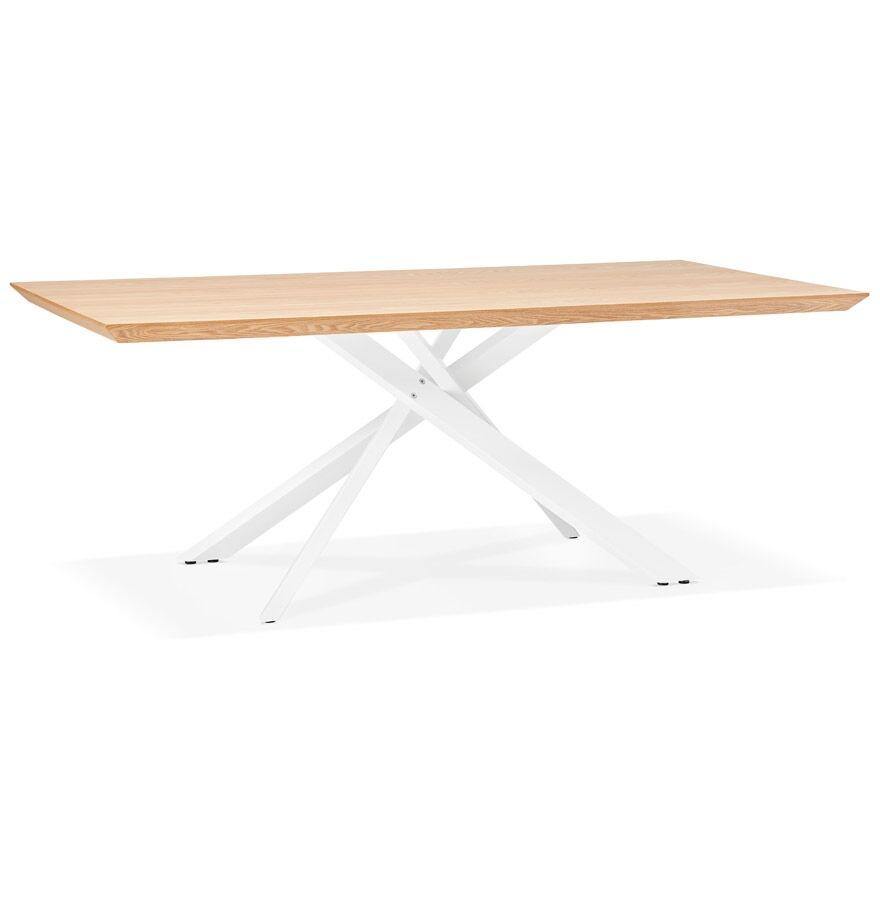 Alterego Table à diner 'WALABY' en bois finition naturelle avec pied central en x blanc - 200x100 cm