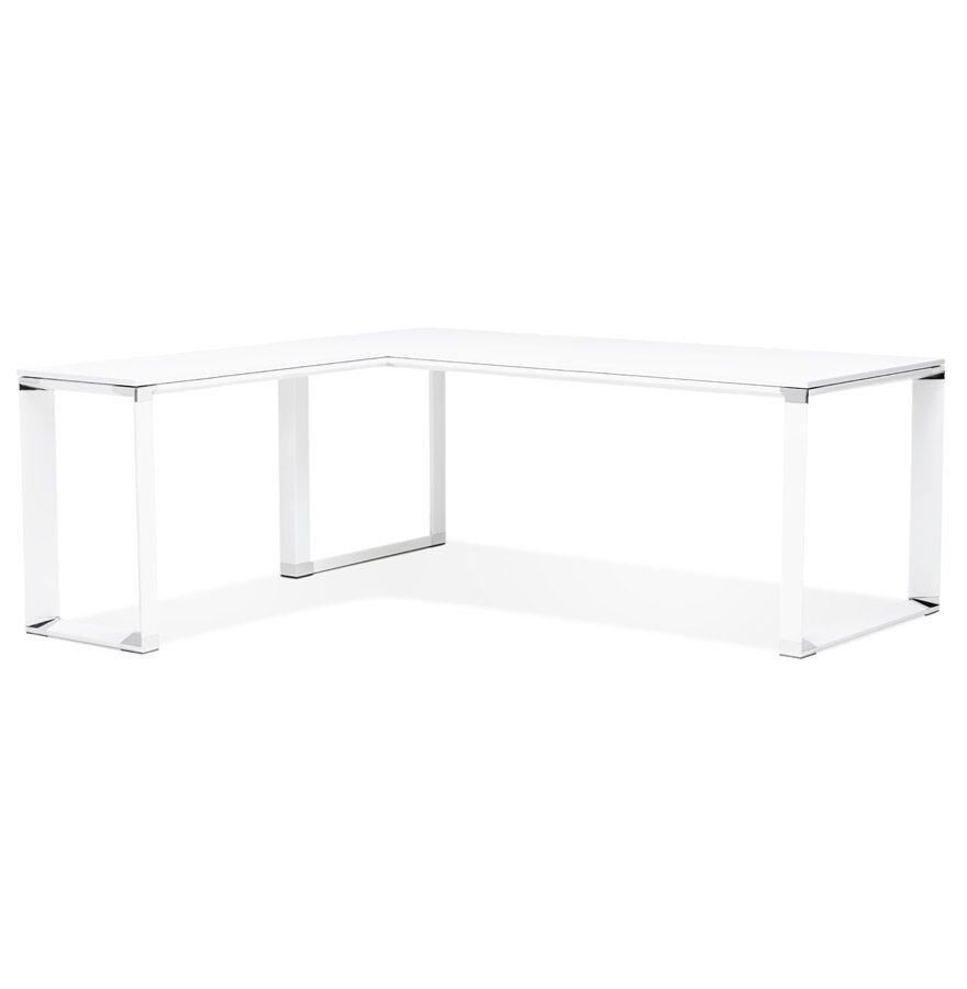 Alterego Grand bureau de direction en angle 'XLINE' en bois blanc (angle au choix) - 200 cm