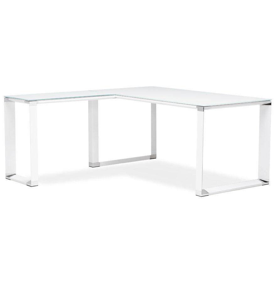 Alterego Bureau de direction en angle design 'XLINE' en verre blanc (angle au choix) - 160 cm