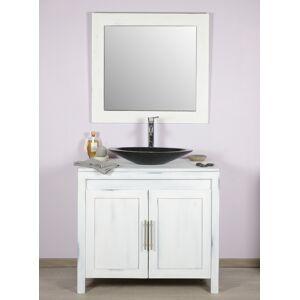 Saniteck Meuble salle de bain teck 90 blanchi - Publicité