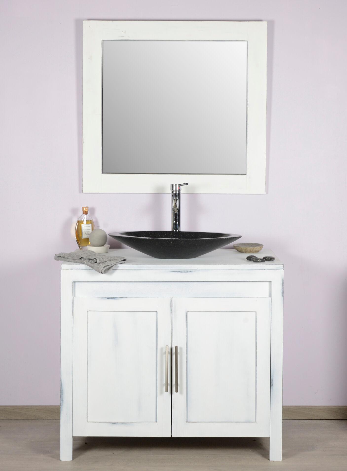Saniteck Meuble salle de bain teck 90 blanchi