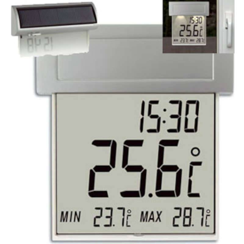 TFA Thermomètre extérieur affichage géant -VISION- avec heure et éclairage solaire TFA T301035