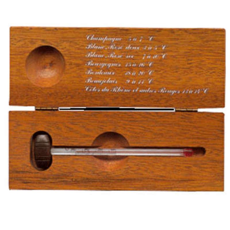 Thermomètre à vin dans coffret bois massif teinté  BL-TVC-3187