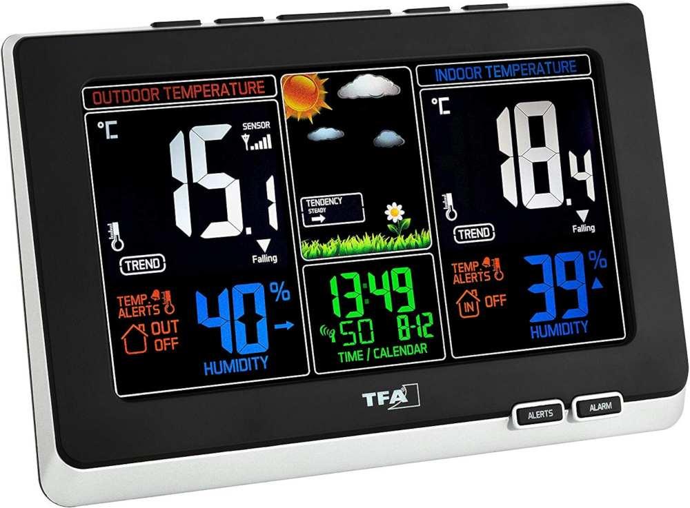Station Météo   Thermo/hygro LCD Couleur, alarmes et DCF77  WS6828-35.1129+piles